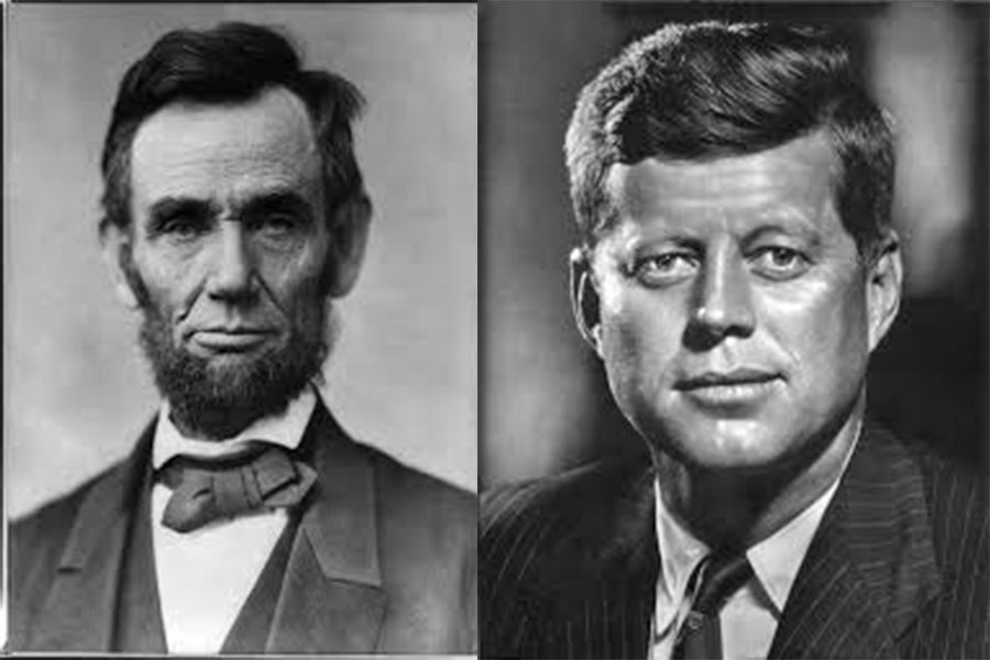 A+side+by+side+of+former+presidents+Lincoln+and+Kennedy.