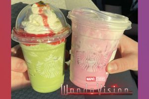 The WandaVision and Agatha All Along drinks from Starbucks.