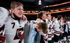 The Eden Prairie boys hockey team celebrates their AA high shcool hockey title.