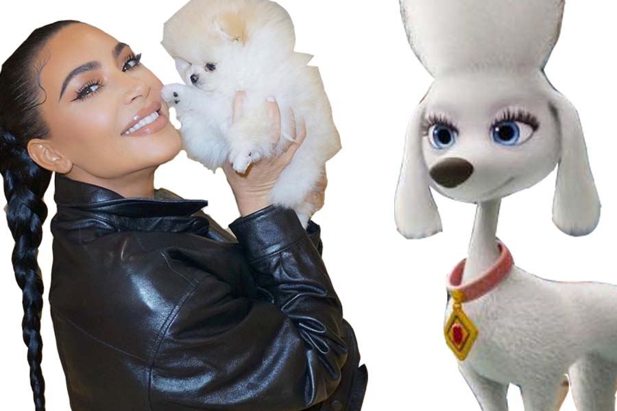 Kim+Kardashian+poses+with+her+character+Deloris+from+the+new+PAW+Patrol+movie.+